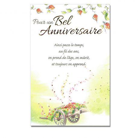 Cartes Mots du bonheur Anniversaire Tous âges Chariot de fleurs