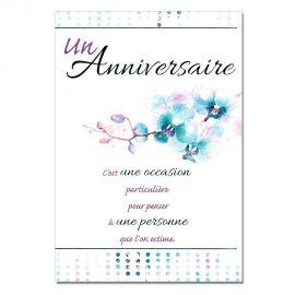 Cartes Mots du bonheur Anniversaire Tous âges Fleurs bleues
