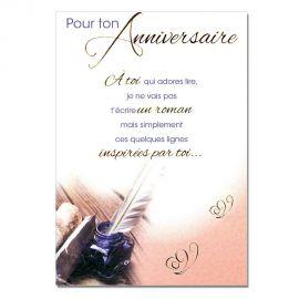 Cartes Mots du bonheur Anniversaire Tous âges Encrier