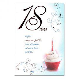 Cartes Mots du bonheur Anniversaire 18 ans