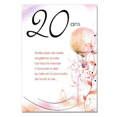 Cartes Mots du bonheur Anniversaire 20 ans rose