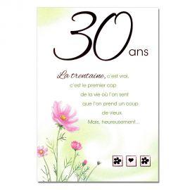 Cartes Mots du bonheur Anniversaire 30 ans