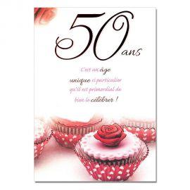 Cartes Mots du bonheur Anniversaire 50 ans femme