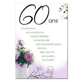 Cartes Mots du bonheur Anniversaire 60 ans femme