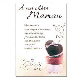 Cartes Mots du bonheur Sentiments pour Maman Gâteaux
