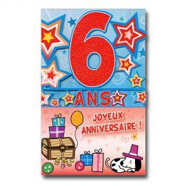 Carte Anniversaire 6 ans  découp'âge