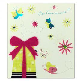 Carte Anniversaire Prestige Papillons et cadeau