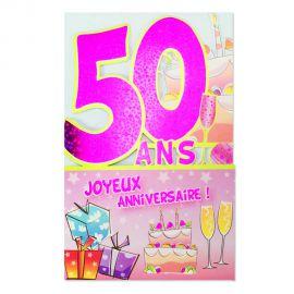 Carte Anniversaire 50 ans Rose découp'âge