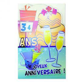 Carte Anniversaire bleue de 10 à 99 ans à disques