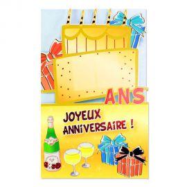 Carte anniversaire Gâteau tous âges à stickers