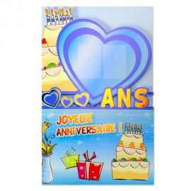 Carte anniversaire Coeur tous âges à stickers